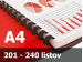 Väzba hrebeňová plastová A4 28mm - spracovanie
