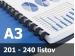Väzba hrebeňová plastová A3R 28mm - spracovanie