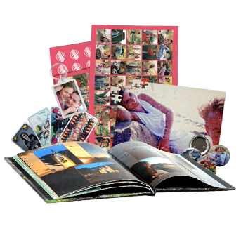 fotokniha, pexeso, puzzle, hracie karty, prívesok na kľúče a odznak s vlastnou potlačou