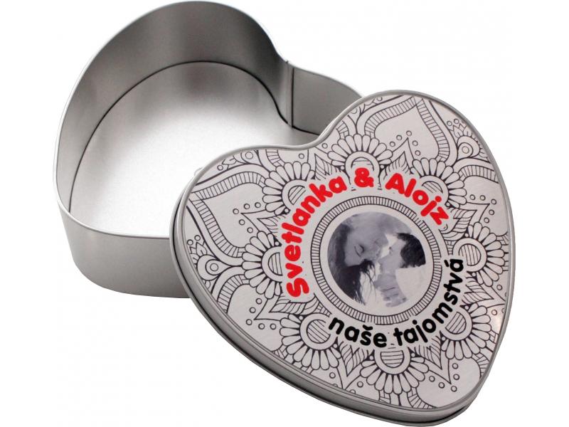 Hliníková krabička v tvare srdce s potlačou