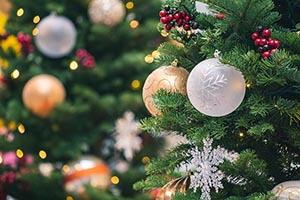 Biele a zlaté vianočné gule zavesené na zelených vetvičkách vianočného stromčeka